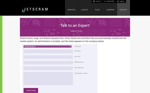 Screenshot of Support Page jetscram.com - Website/Software Support Ticket | Jetscram, LLC - captured Sept. 30, 2014