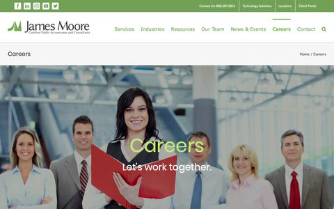Screenshot of Jobs Page jmco.com - Careers | From Campus Recuriting to Experienced Hires | James Moore - captured Oct. 13, 2018
