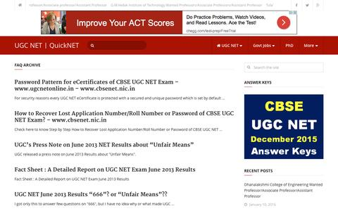 Screenshot of FAQ Page cbseugcnetforum.in - Latest FAQ Updates | UGC NET | QuickNET - captured Jan. 17, 2016