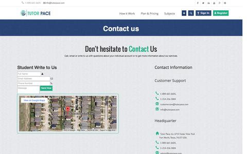 Screenshot of Contact Page tutorpace.com - Contact Us - Online Tutoring, Homework & Assignment Help   Tutorpace - captured Oct. 10, 2014