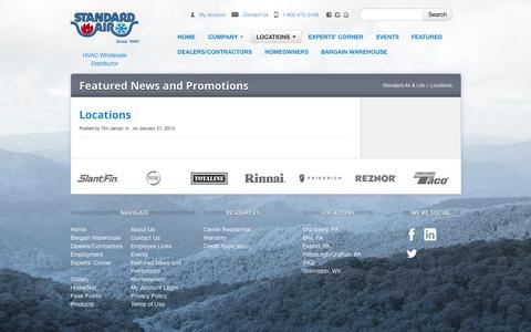 Screenshot of Locations Page stdair.com - Locations - Standard Air & Lite - captured Oct. 6, 2014
