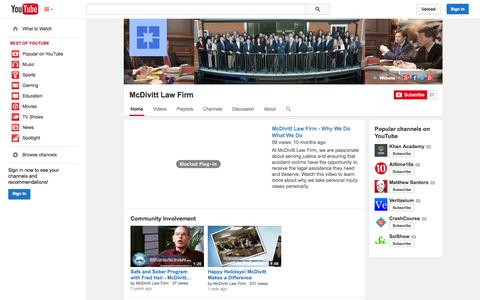 Screenshot of YouTube Page youtube.com - McDivitt Law Firm  - YouTube - captured Oct. 27, 2014
