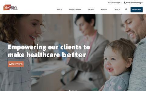 Screenshot of Home Page nextgen.com - EHR/EMR Software, RCM for Ambulatory Practices | NextGen Healthcare - captured July 31, 2019