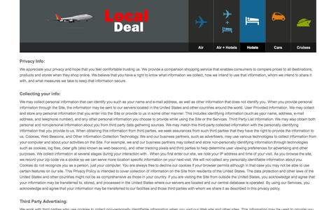 Screenshot of Privacy Page local-deal.com - LOCAL DEALS | Travel Deals, Flights, Hotels, Vacations, Cruises - captured Jan. 31, 2016