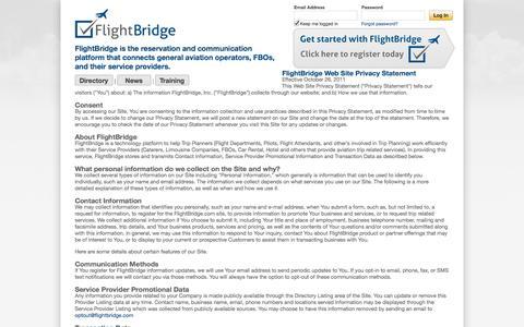 Screenshot of Privacy Page flightbridge.com - FlightBridge - Privacy Statement - captured Sept. 30, 2014