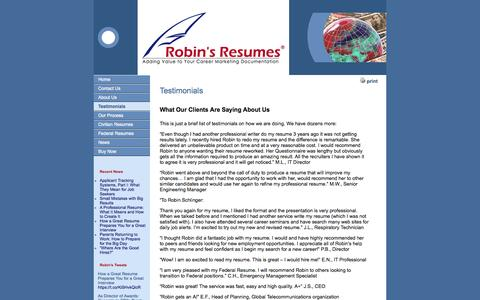 Screenshot of Testimonials Page robinresumes.com - Robin's Resumes® - Testimonials from Folks we have Helped | Robin's Resumes® - captured Oct. 6, 2014