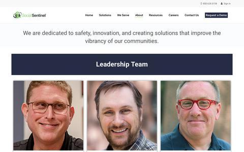 Screenshot of Team Page socialsentinel.com - Leadership - Social Sentinel - captured Nov. 22, 2018