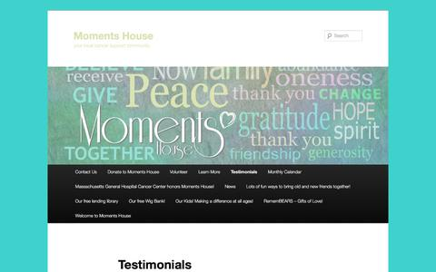 Screenshot of Testimonials Page momentshouse.org - Testimonials | Moments House - captured Oct. 26, 2017