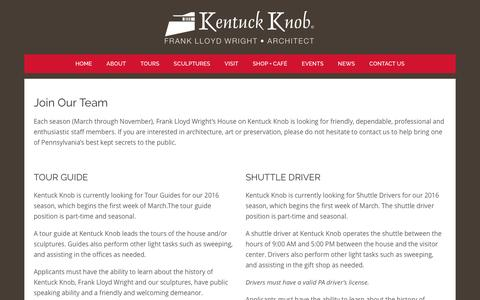 Screenshot of Jobs Page kentuckknob.com - Kentuck Knob |   Jobs - captured Feb. 10, 2016