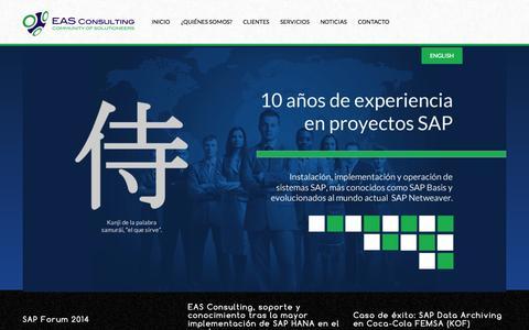 Screenshot of Home Page eas-consulting.com.mx - EAS Consulting - Español - - captured Sept. 26, 2014
