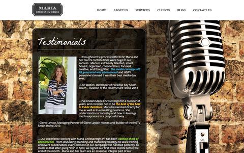 Screenshot of Testimonials Page mcpragency.com - TESTIMONIALS - Maria Chrissovergis Public Relations - captured Oct. 27, 2014