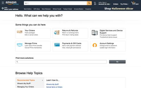 Screenshot of Support Page amazon.com - Amazon.com Help - captured Oct. 2, 2019