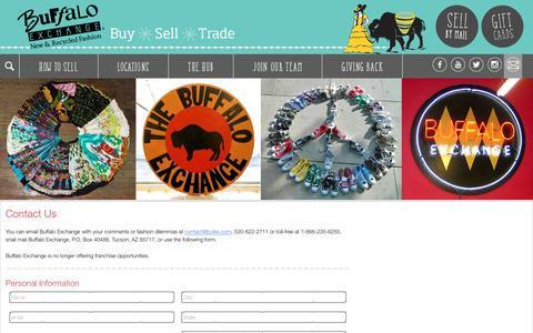 Screenshot of Contact Page buffaloexchange.com - Contact Us   Buffalo Exchange   Customer Help - captured Jan. 9, 2017