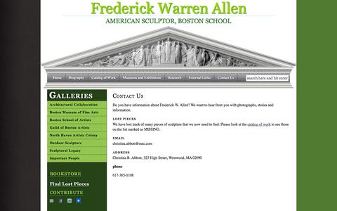 Screenshot of About Page Contact Page fwallen.com - Contact Us — Frederick Warren Allen - captured May 19, 2016