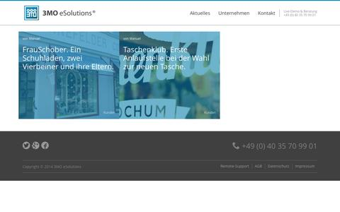 Screenshot of Blog 3mo.de - Aktuelles   3MO eSolutions   Anbieter der Versandhandelssoftware 3MO eBusiness. Die all-in-one E-Commerce Lösung für Ihr Unternehmen. - captured Oct. 7, 2014