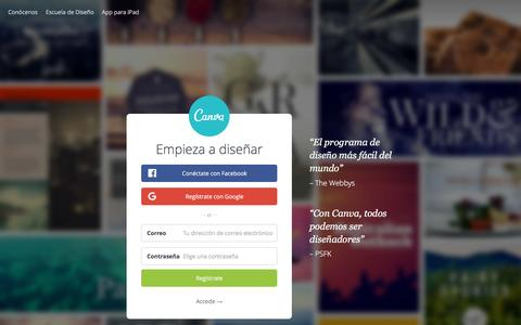 Screenshot of Home Page canva.com - Programa de diseño gráfico increíblemente sencillo – Canva - captured April 24, 2016