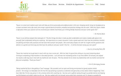 Screenshot of Testimonials Page betheartoflife.com - BE The Art of Life / Susan Dahl-Robertson, M.A. / Testimonials - captured July 31, 2018