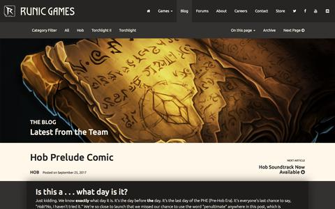 Screenshot of Blog runicgames.com - Runic Games   Blog - captured July 4, 2018