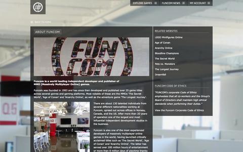 Screenshot of About Page funcom.com - funcom.com | ABOUT FUNCOM - captured Sept. 19, 2014