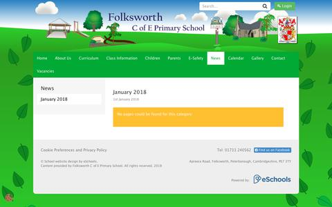 Screenshot of Press Page eschools.co.uk - Welcome to Folksworth C of E Primary School - captured June 28, 2018