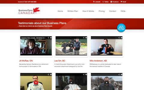 Screenshot of Testimonials Page businessplanscanada.com - Testimonials about our Business Plan Writing Services - captured Nov. 6, 2018