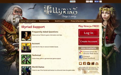 Screenshot of Support Page illyriad.co.uk - Illyriad Support - captured Sept. 24, 2014