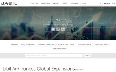 Screenshot of Press Page jabil.com - Jabil Announces Global Expansions | Jabil Circuit, Inc. - captured July 7, 2018