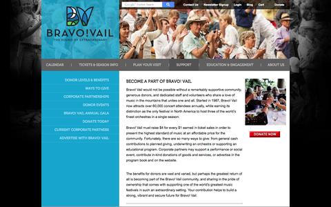 Screenshot of Support Page bravovail.org - Support | Bravo! Vail - captured Sept. 30, 2014