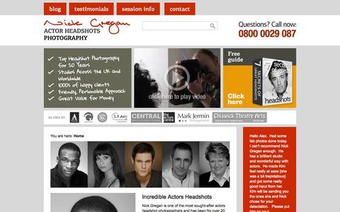 Screenshot of Home Page Privacy Page nickgregan.com - Actors headshots, headshot photography - captured Sept. 26, 2014