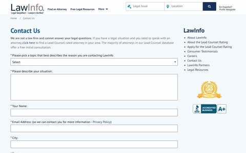 Screenshot of Contact Page lawinfo.com - LawInfo.com | Corporate Information - captured Nov. 1, 2017