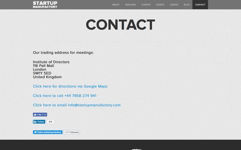 Screenshot of Contact Page startupmanufactory.com - Startup Consulting, Business Plans, Financial Models, London - captured June 17, 2017
