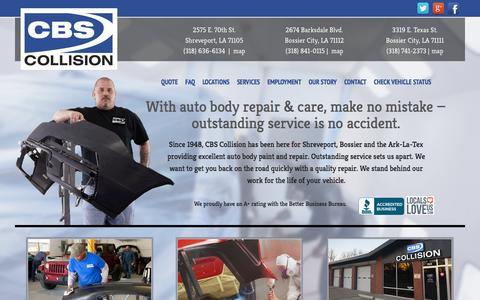 Screenshot of Home Page cbscollision.com - CBS Collision - Shreveport - Bossier Auto Body Repair - captured Sept. 26, 2014