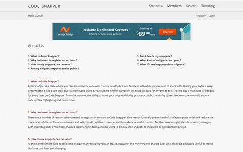 Screenshot of About Page codesnapper.net - Code Snapper |   Programming Code Snippets - captured June 6, 2016