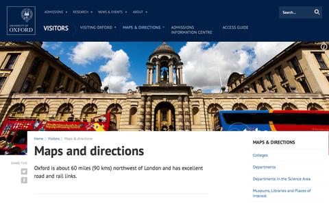 Screenshot of Maps & Directions Page ox.ac.uk - Maps and directions | University of Oxford - captured Sept. 18, 2014