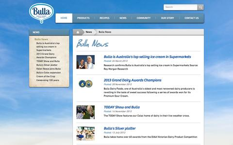 Screenshot of Press Page bulla.com.au - Bulla News - News - Bulla Dairy Foods - captured Oct. 5, 2014