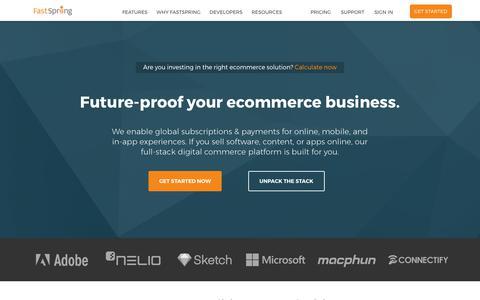 Screenshot of Home Page fastspring.com - Digital Commerce Platform for Software and SaaS | FastSpring - captured Aug. 11, 2017