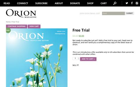 Screenshot of Trial Page orionmagazine.org - Free Trial | Orion Magazine - captured June 13, 2019