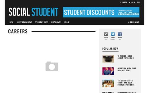 Screenshot of Jobs Page socialstudent.co.uk - Kick start your career with Social Student - captured Feb. 22, 2016