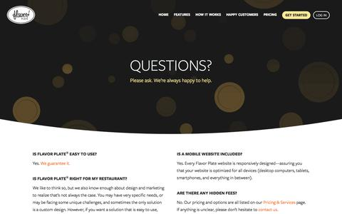Screenshot of FAQ Page flavorplate.com - Frequently Asked Questions About Our Restaurant Website Solution - captured Aug. 15, 2018