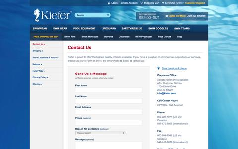 Screenshot of Contact Page Support Page kiefer.com - Contact Us | Kiefer Swim Shop - captured Oct. 23, 2014