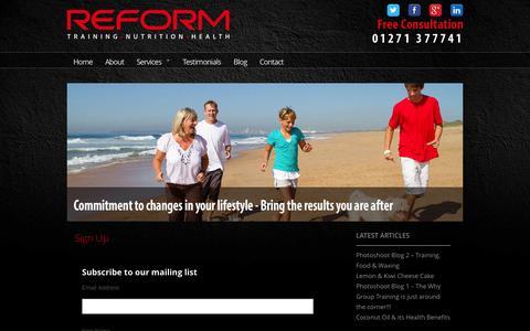 Screenshot of Signup Page reformnorthdevon.com - Sign Up   Reform Fitness North Devon   Personal Trainer Barnstaple - captured Oct. 26, 2014