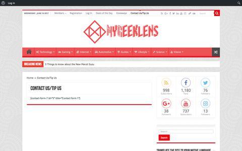 Screenshot of Contact Page mygeeklens.com - Contact Us/Tip Us   MyGeekLens - captured June 14, 2017
