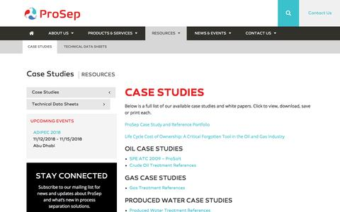Screenshot of Case Studies Page prosep.com - Case Studies - ProSep - captured July 13, 2018