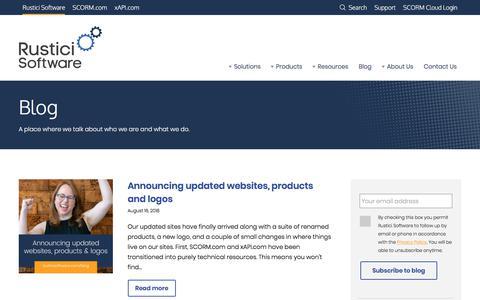 Screenshot of Blog rusticisoftware.com - Rustici Software Blog - Rustici Software - captured Aug. 17, 2018