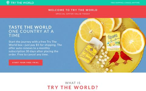 Screenshot of Trial Page trytheworld.com - 'Try The World' Delivers Exotic Delicacies Right To Your Door                     | Try The World - captured Nov. 15, 2016