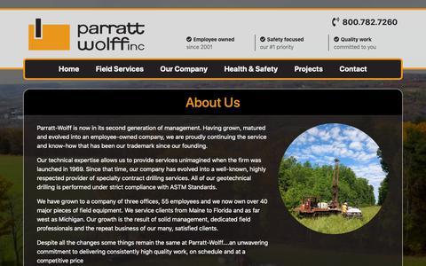 Screenshot of About Page pwinc.com - Parratt-Wolff - captured Sept. 27, 2018
