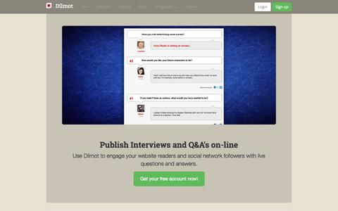 Screenshot of Home Page dilmot.com - Dilmot is the application to publish Q&A's, on-line interviews, webchats, debates, discussions - captured Jan. 21, 2015