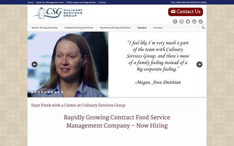 Screenshot of Jobs Page culinaryservicesgroup.com - Start Fresh with a Career at Culinary Services Group - - captured Dec. 13, 2015