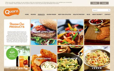 Screenshot of Products Page quorn.co.uk - Quorn Food - Browse the Product Range and Make One Change - captured Jan. 19, 2016