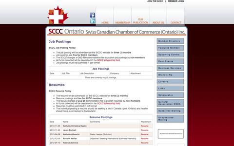 Screenshot of Jobs Page swissbiz.ca - Swiss Canadian Chamber of Commerce -- Careers - captured Nov. 4, 2014